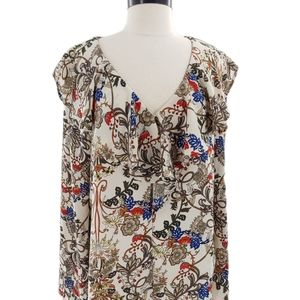 Gorgeous boho floral blouse with deep ruffle large